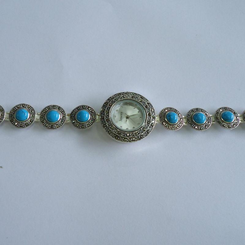 Top Quality Fashion 925 sterling Thai Silver Vintage Quartz Watches Women Wristwatches Fine Jewelry Natural Blue