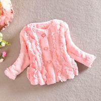 girls winter jacket baby long sleeve warm coat children lace clothes kids autumn fur outwear a -064
