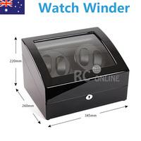 Quad Black Piano wood Automatic Watch Winder Display Box 4 + 6 Leather storage JAPANESE MABUCHI MOTOR