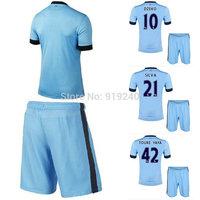 Customize! 14/15 season kids M anchester City jersey top quality soccer uniforms (Jersey + shorts) Size 16--28