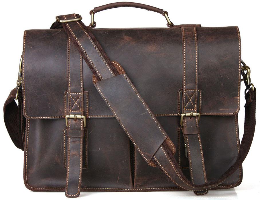 Vintage cowhide leather handbag school brand designer handbags high quality briefcase shoulder bag TIDING 1115(China (Mainland))