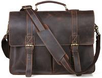 Vintage cowhide leather handbag school brand designer handbags high quality  briefcase shoulder bag TIDING 1115