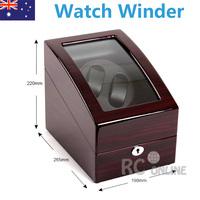 Luxury Ebony Dual wood Automatic Watch Winder Display Box 2 + 3 Leather storage