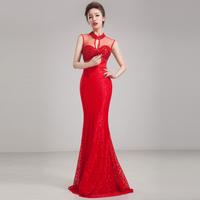 2014Pearl decorative quality lace skirt long design bra stickers lift evening dress  vestidos gala fiesta slim fish tail dresses