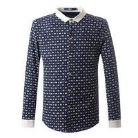 2014 new Spring men's print shirt men clothing bee fresh casual long-sleeve shirt