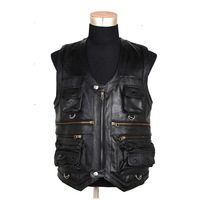 New arrival autumn and winter outdoor multi-pocket quinquagenarian male first layer of cowhide leather vest