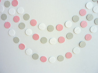 Pink, Gray & White Circle Paper Garland, Wedding, Birthday, Baby Shower, Nursery