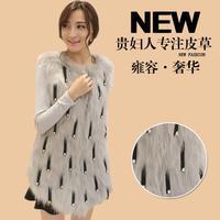 Fur vest medium-long female 2014 fashion vest raccoon fox fur faux