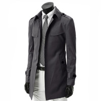 2014 new autumn winter fashion boutique male trench coat / Men's casual long double-breasted dust coat