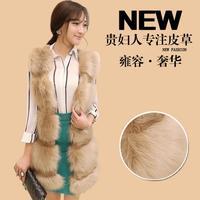 2014 winter new women's faux  fox fur vest design long  XL