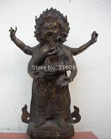 "17""Tibet Buddhism Fane Bronze 3-Head 6-arm Parnashavari Mahakala Buddha Statue FREE Shipping"