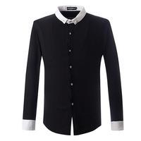 2014 Autumn Men's fashion brief long-sleeve shirt Men casual patchwork shirts