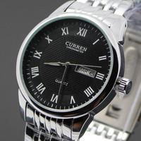 Men Wristwatch Fashion Curren Brand Watches Stainless Steel Analog Quartz Dress Man Clock Men Watch With Date Week (black)