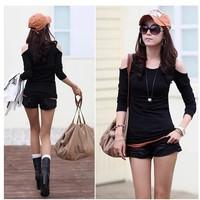 Women's Sexy Strapless long-sleeve T-shirt 2014  top plus size clothing o-neck slim basic shirt free shipping T-2002
