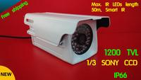 Free shipping 1200TVL CCTV camera 1/3 Sony CCD 960H 48 LED lights IR 50m/ Night version outdoor Security Camera Bullet Camera