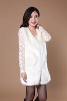 2014 autumn and winter faux fox fur women's medium-long vest