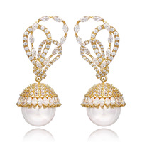 Fashion Trendy Luxurious Gold Plated Cubic Zirconia Diamond Crystals Round Pearl Drop Earrings For Women