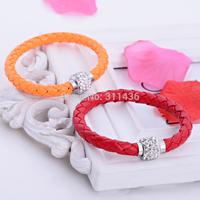 leather bangle colorful magnetic button bracelet simple pu leather bracelet