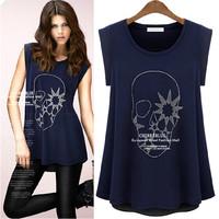2014 summer fashion plus size loose rhinestones skull patchwork chiffon shirt short-sleeve T-Shirts