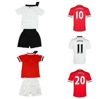 Customize! 14/15 season kids M anchester U nited jersey top quality soccer uniforms (Jersey + shorts) Size 16--28