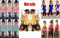 CCS177 Free shipping 2014 summer Short sleeve skirt coat + pants children clothing set girls suit kids fashion clothes retail