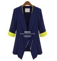 Blazer women ladies blaser feminino and jackets work wear mulheres preto blue Color Femal Suit One Button Cardigan Coat