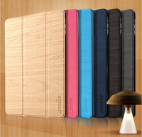 Foldable Ultra Thin Natural Wood Grain Flip Stand Leather Smart Case Cover For Apple iPad Mini 1/2 Mooke