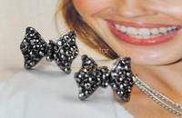 1 Pair Lovely Cute Alloy And Rhinestone Crystal Bowknot Bow Tie Earrings Stud Earrings SV19 5166
