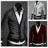 2014 New Arrival Men's Autumn Fashion button sweater Men bodycon V neck long-sleeve cardigan
