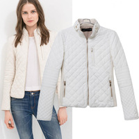 New Arrival Free Shipping 2014 Women's Beige Color Quiltting  Casual Jacket  Ladies' Coat Tops