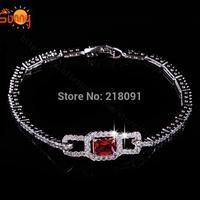 New Fashion shiny bracelet with big red  Austria Crystal bracelets for women free shipping