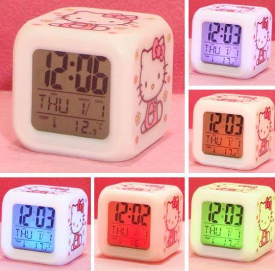 Creative Hello Kitty pattern Alarm clock colorful led electronic clock + Free Shipping(China (Mainland))