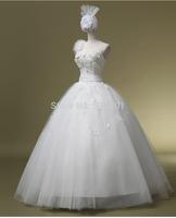 ball gown vestido de noiva wedding dresses 2015 new Korean shoulder bridal dress flower one shoulder wedding dress Qi HS 434