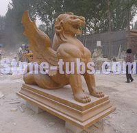 Natural marble stone antique garden sculpture statues monster statue