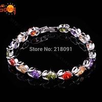 New white Gold Filled colorful Clear rhinestone bracelets for women Austrian Crystal Wrist Bracelet Bangle Jewelry