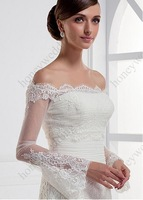 Attractive Tulle Off-the-shoulder Long Sleeves Wedding Bolero / Jacket With Lace Appliques AL6719