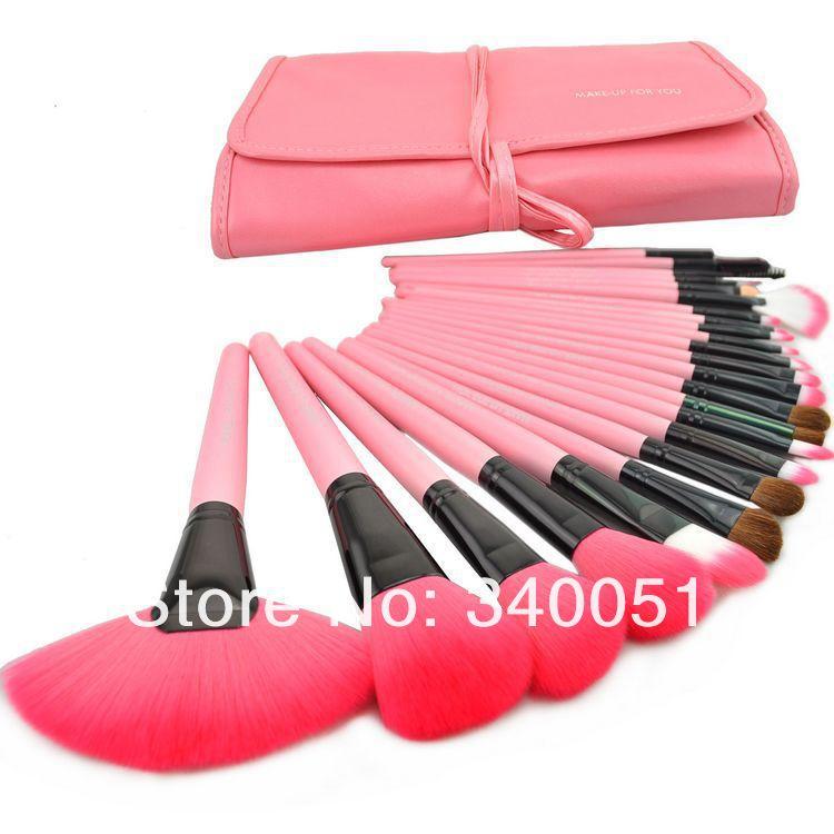 Free Shipping 24pcs Professional Makeup Brush Set Make Up Brushes Kit Cosmetic Tools With PU Leather Bag(China (Mainland))