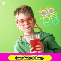 2014 New Design 5 Colors Children's Fun Drinking Flexible Soft Glasses Straw Best Gift For Children