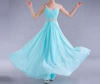 Free Shipping ! Cheap Price ! 2014 New Arrival Beading Crystals Red Blue Pink V Neck Chiffon Evening Dresses OE00011