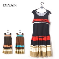 Free Shipping 2014 New Arrial Fashion High Quality Striped Sleeveless Knee-Length PONTE DRESS For Women S-XL  3048