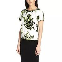 New Fashion Ladies' elegant Fluorescence floral print blouses Vintage short sleeve t Shirts casual slim brand tops