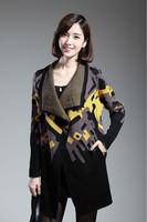 2014 New women fashion big lapel knitting  long-sleeved Geometric singular figure color cardigan coat