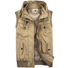 2014 Autumn Winter Vest Men Cotton Thicken Warmth Vests Sleeveless Jacket Casual Mens Vest Coat 2014 New Arrival Khaki Black XL(China (Mainland))