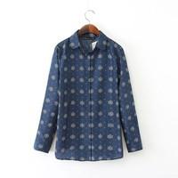 New Fashion Ladies' elegant rudder print OL blouses turn down collar long sleeve Shirts casual slim brand designer tops