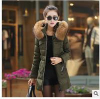 New 2014 jacket winter coat thicken Slim female raccoon fur collar and long coat women parka winter coat plus size M-XXXL Q167