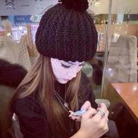 2014  Actress beanie hat bow gauze knit winter wool cap wholesale lob