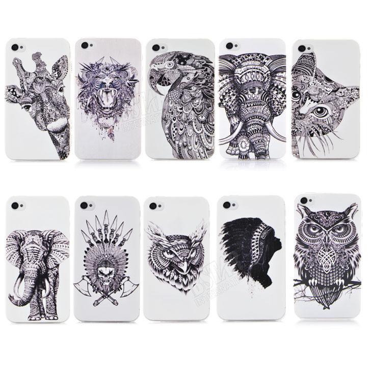 New Style 3D cute Cartoon Animal world logo giraffe Elephant OWL Phone Case Cover For Iphone 4 4S PT1393(China (Mainland))