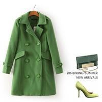 Double breasted wide wasisted women's cashmere coat 2014 NEW woolen coat woman jacket winter overcoat Woollen coat long outwear