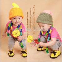 Wholesale 5 pcs/lot 5 colors baby hat caps warm winter boy girl cap kid's knitting cap fluorescent color hit color Douding caps