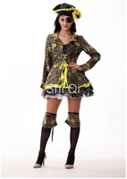 Free shipping 2014 New Queen of Halloween costumespirates of the caribbean cosplay one eye witch clothes